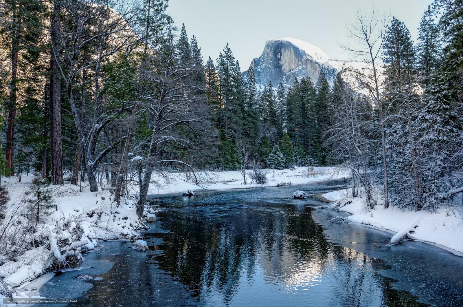 wallpaper Yosemite National Park river trees Mountains desktop 1600x1060