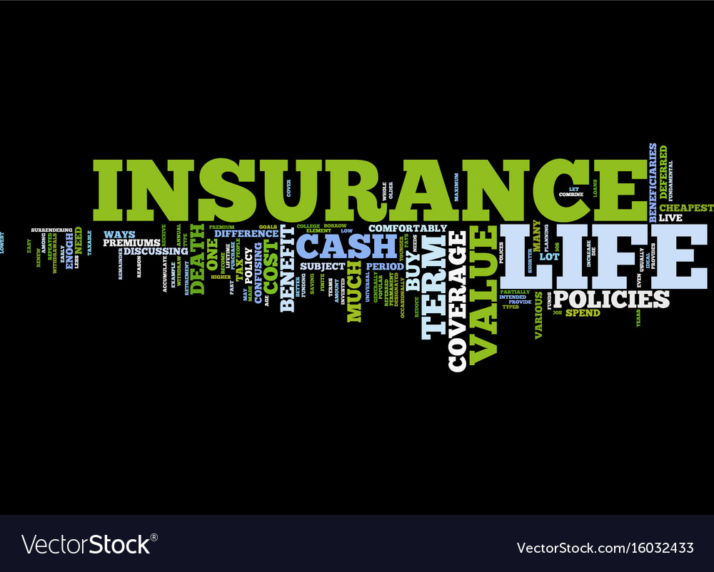Life insurance coverage text background word Vector Image 1000x802