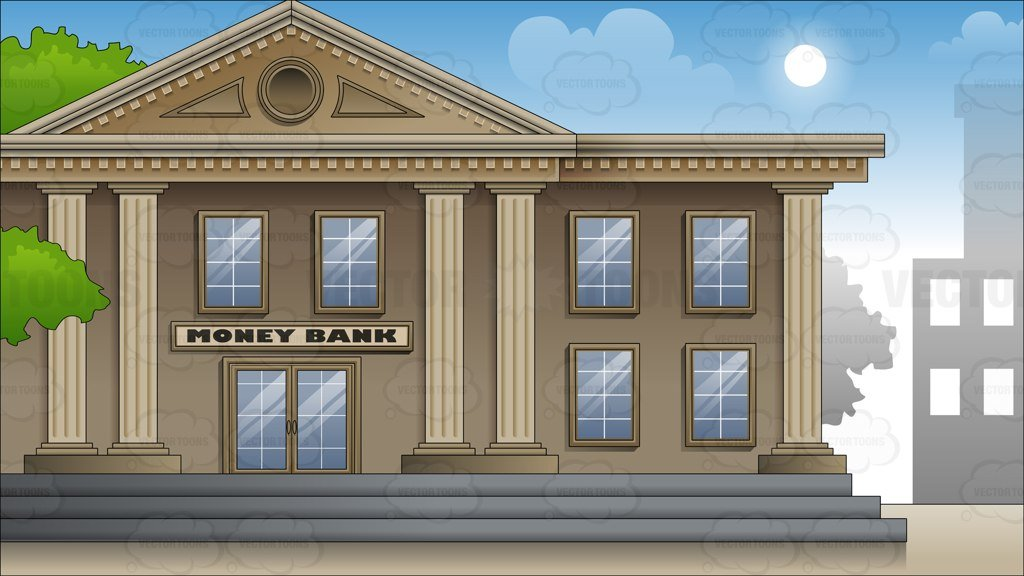 Exterior Of A Large City Bank Background Clipart Cartoons By 1024x576