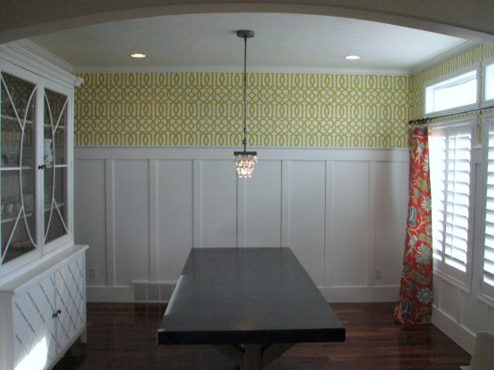 dining room batten board with wallpaper above 555x416