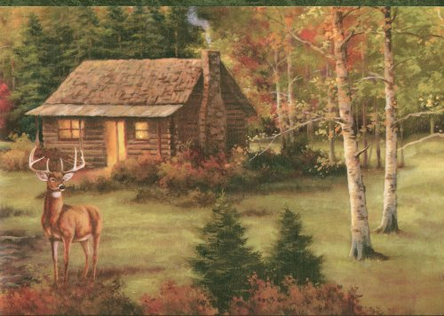 Deer Cabin Lodge Wallpaper Border 500x356