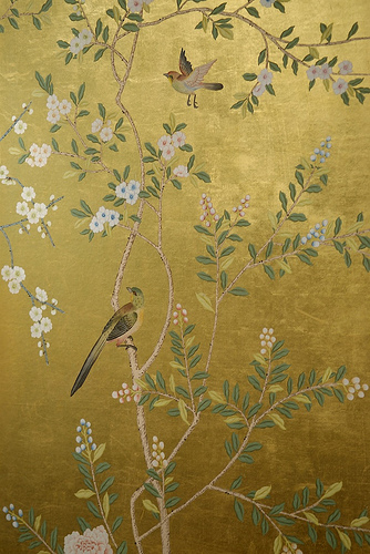 My dining room had a chinoiserie silk paper with a metallic gold 334x500
