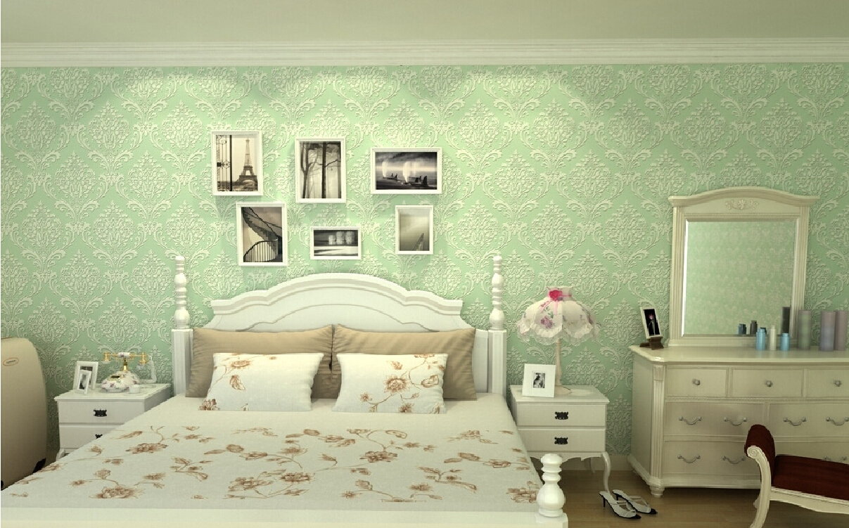 3D bedroom with green wallpaper and dresser 1207x751