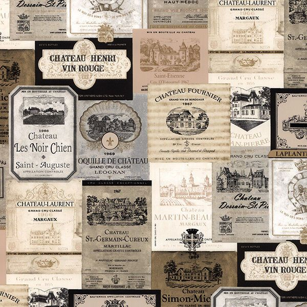 Vintage Wine Label Wallpaper French Kitchen Cafe Bar Old Country East 600x600