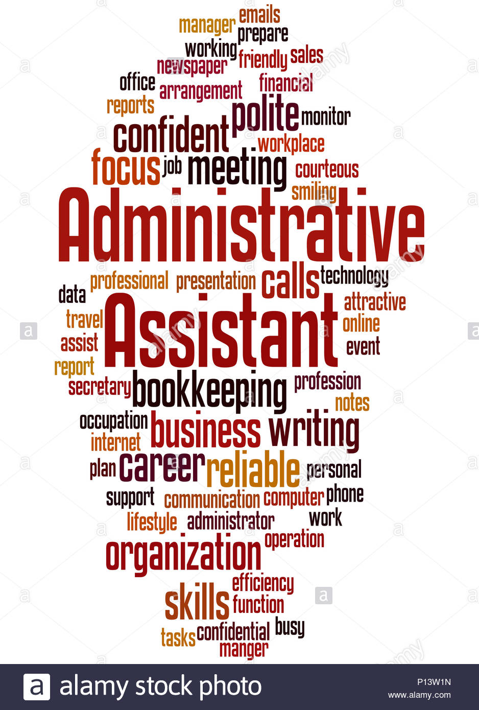 Administrative Assistant word cloud concept on white background 938x1390