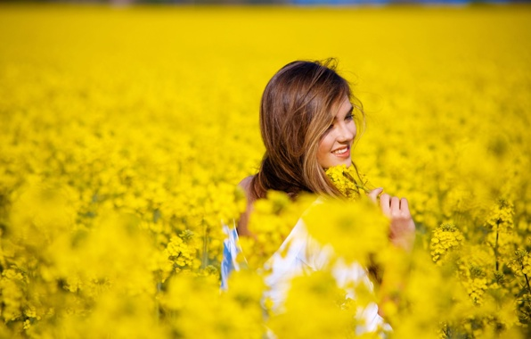 Mood girl smile field flower flowers yellow background 596x380