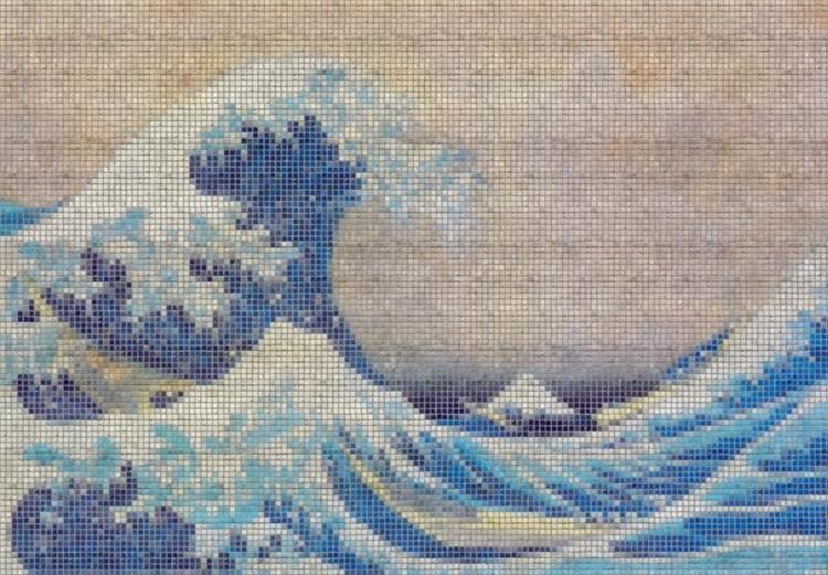 Japanese Wave Tile Wallpaper Mural, www.ArtisticWallMurals.com