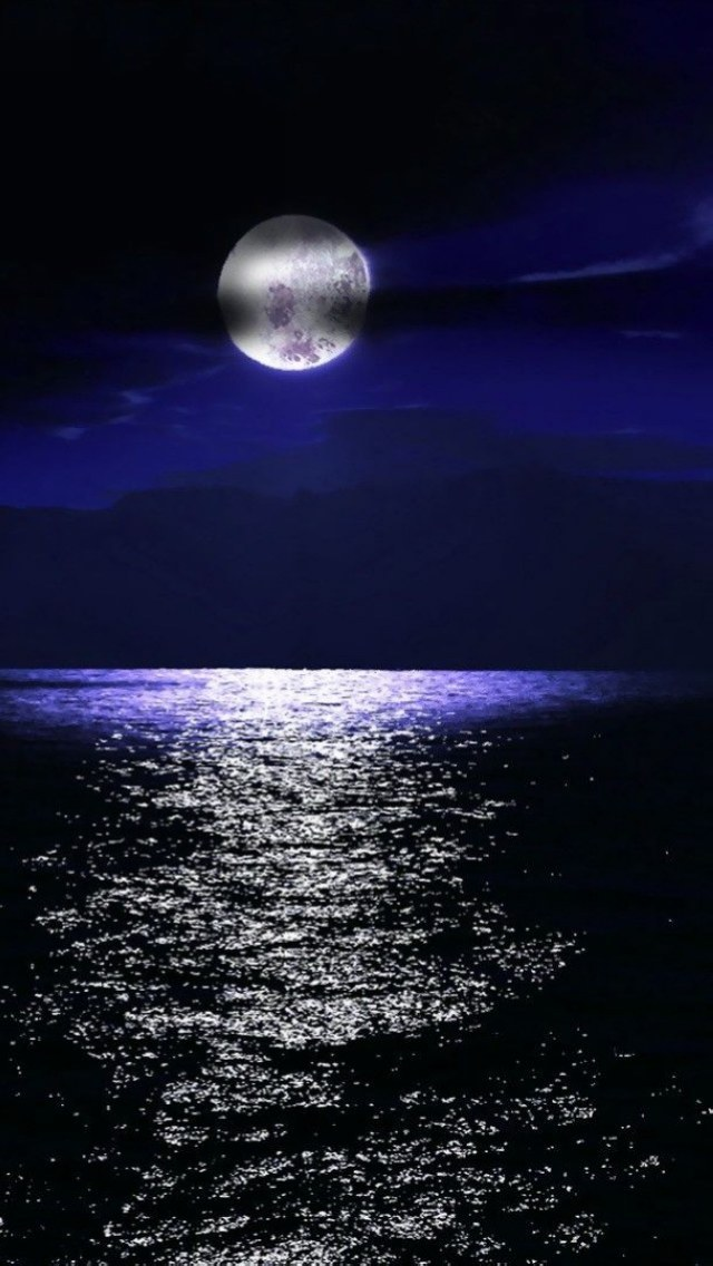 Free Download Full Moon Over The Sea Wallpaper Iphone