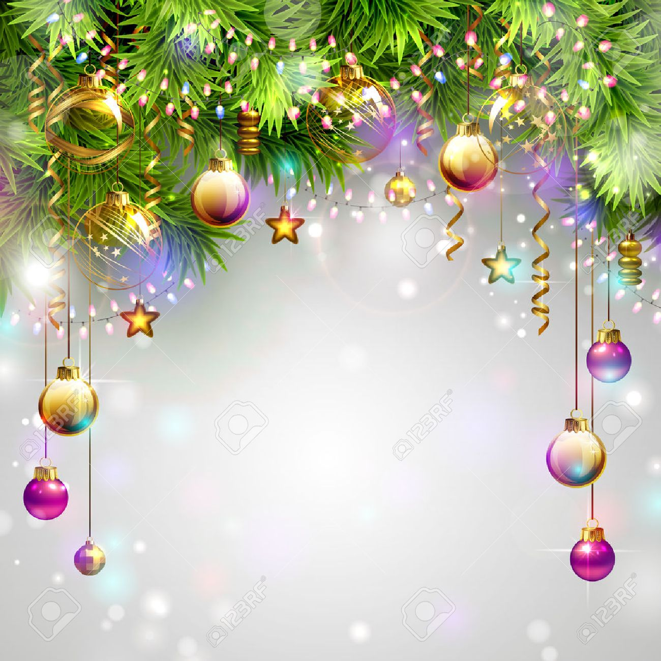 Christmas Backgrounds With Evening Balls Garlands And Fir trees 1300x1300
