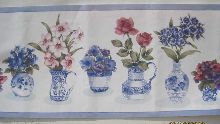 FLOWERS IN BLUE VASES wallpaper border 10 12 Just the right 736x414