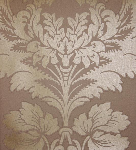 Hovingham Wallpaper Large damask design wallpaper in gold on brown 534x590