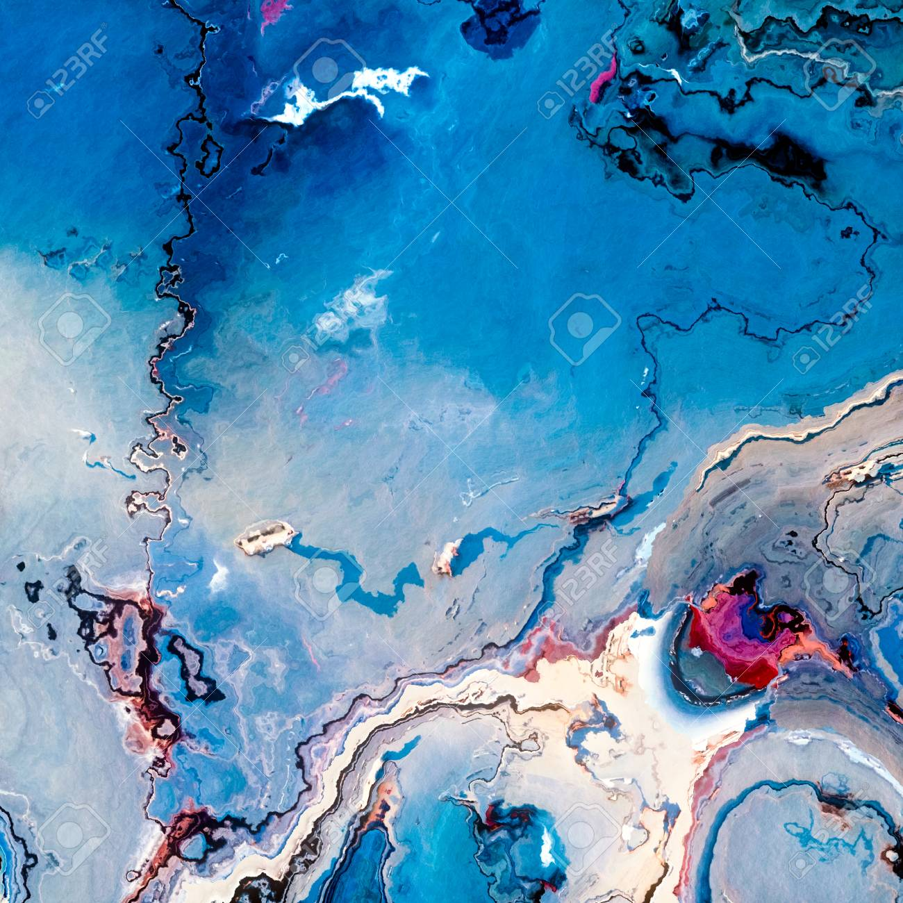 Blue Terrain Or Paint Spill Abstract Background Stock Photo 1300x1300
