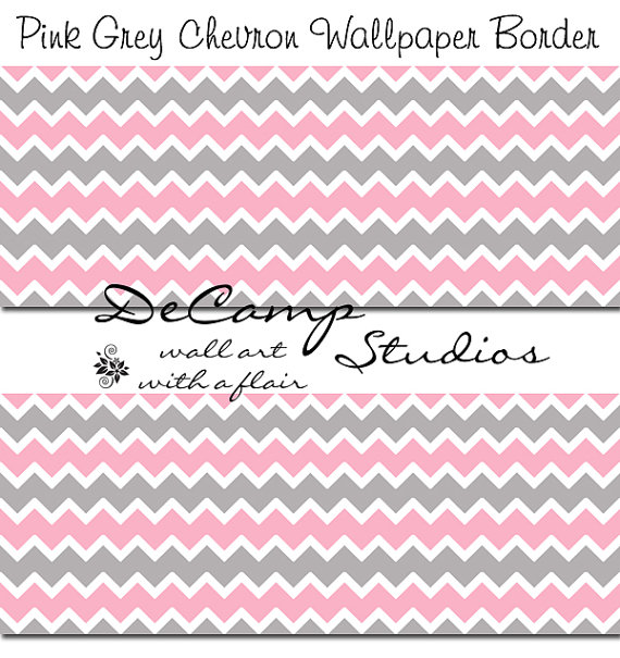 PINK GREY GRAY Chevron Wallpaper Border Wall Decals Baby Girl Nursery 570x605