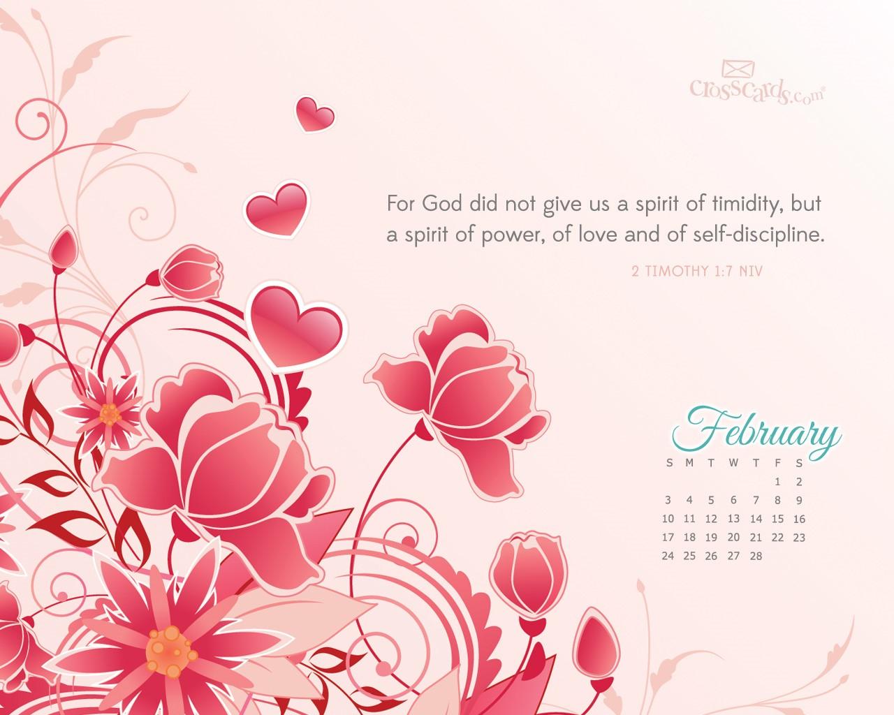Feb 2013   2 Tim 17 NIV Desktop Calendar  February 1280x1024