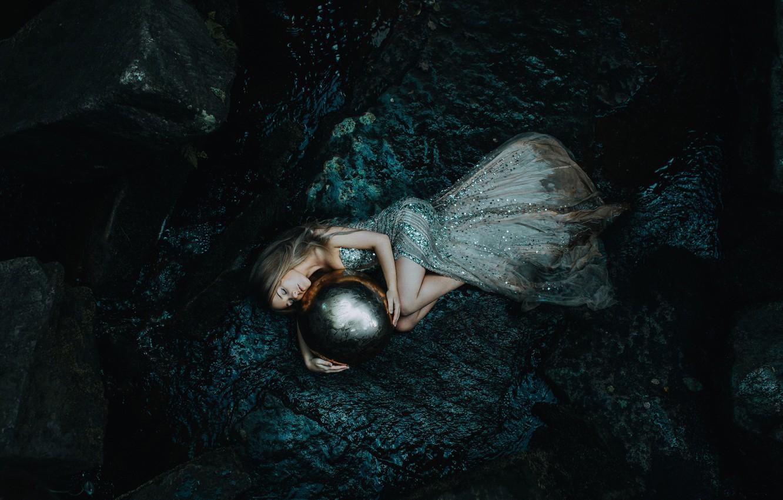 Wallpaper girl ball sleep dress sleeping Daughter of the sea 1332x850
