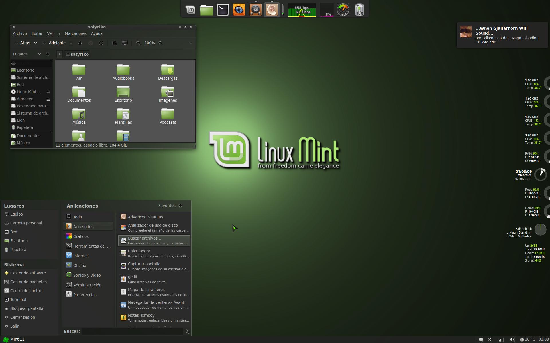 my desktop linux mint 11 by satyriko customization desktop screenshots 1920x1200