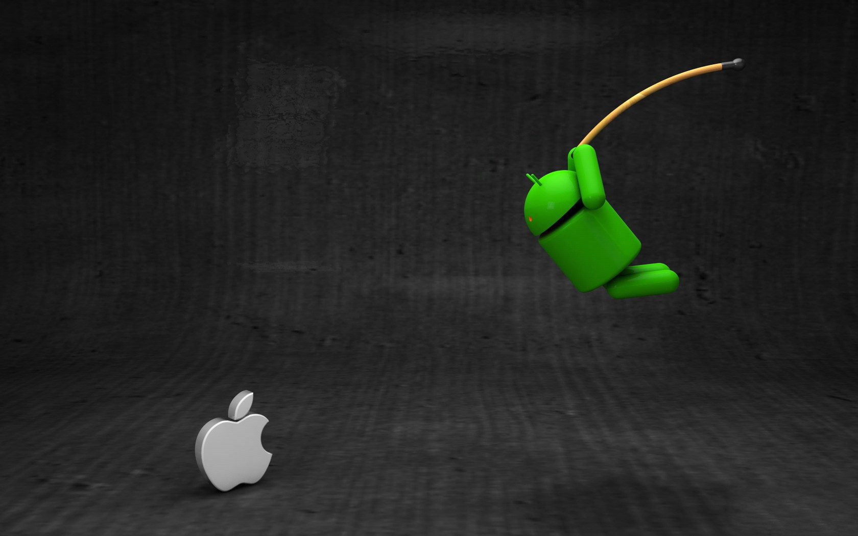 Android vs Apple android apple black brand fun gray 1680x1050