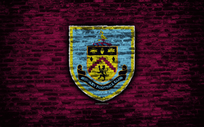 Download wallpapers Burnley FC logo violet brick wall Premier 2880x1800