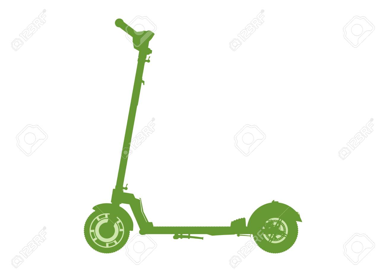 Scooter Icon Electric Kick Scooter Silhouette On A White 1300x919