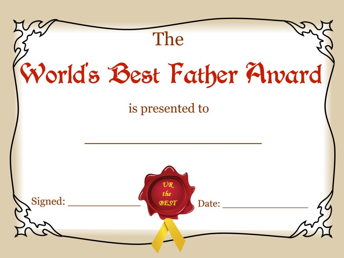 Worlds Best Father Award Certificate to Print 1096x822