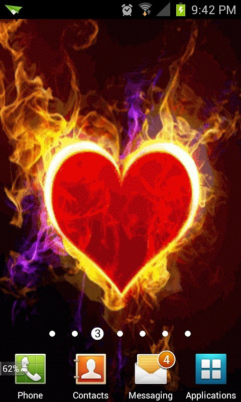 Red Heart Fire Live Wallpaper Android Live Wallpaper download 480x800