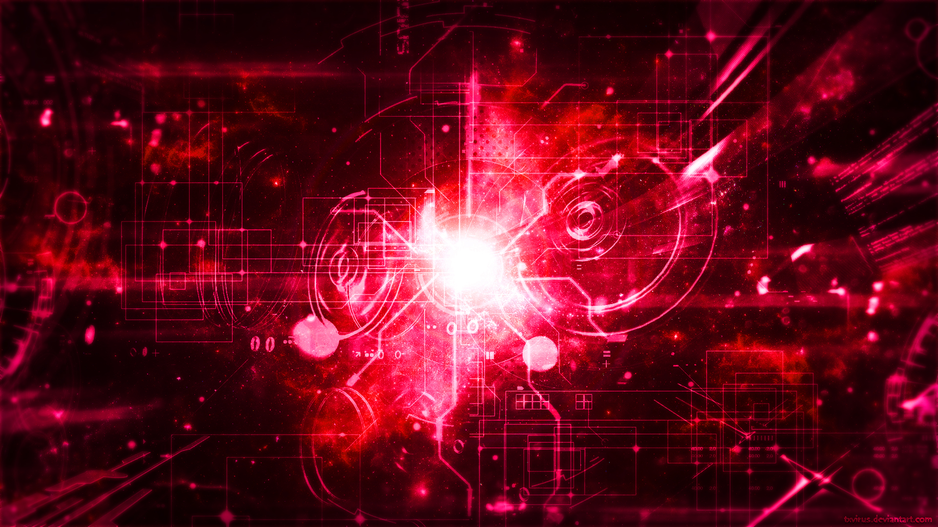 Techno Galaxy Red Lover by txvirus 1920x1080