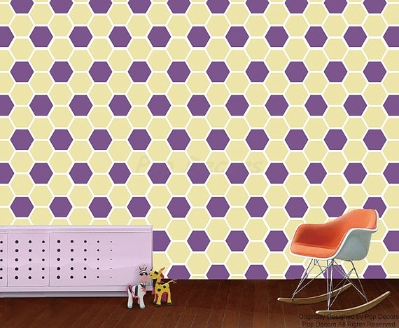 Fabric Wallpapers   Honeycomb Allover   Children Playroom Wall Decors 570x468