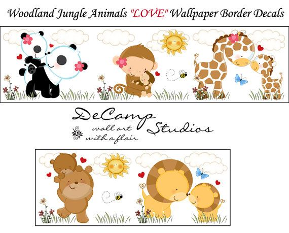 JUNGLE WOODLAND ANIMALS Wallpaper Wall Art Border Decals Baby Girl Boy 570x459
