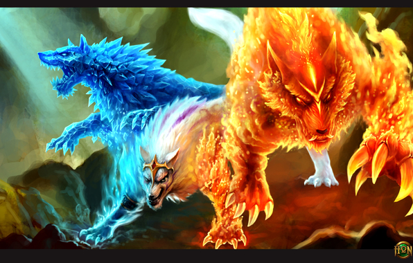 Wallpaper gemini heroes of newerth hon fire ice wolf wallpapers 596x380