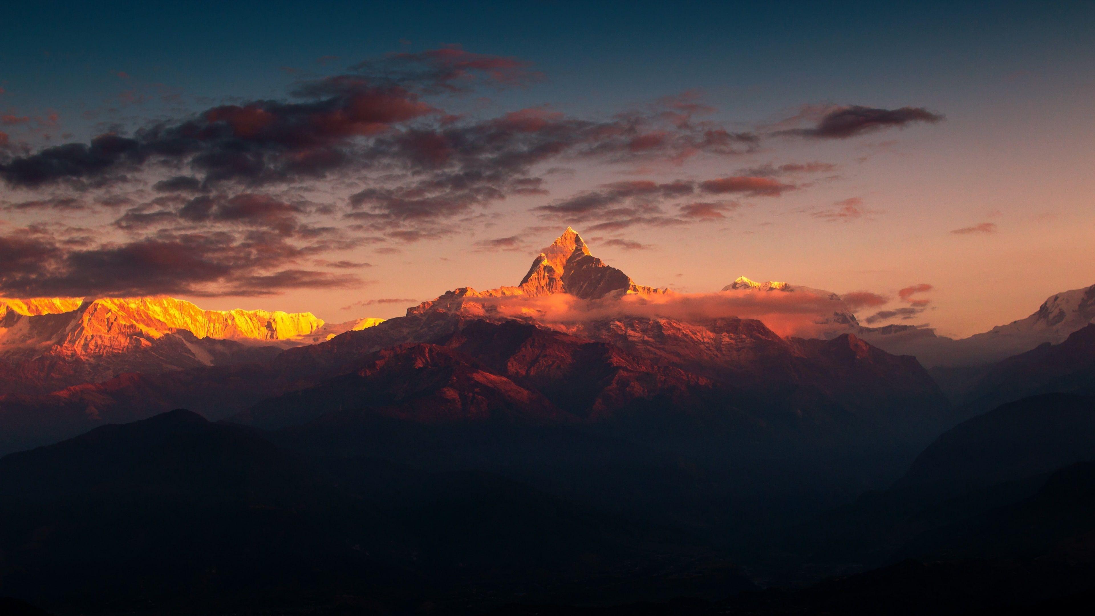 himalaya afterglow mountain himalayas mountain range cloud 3840x2160