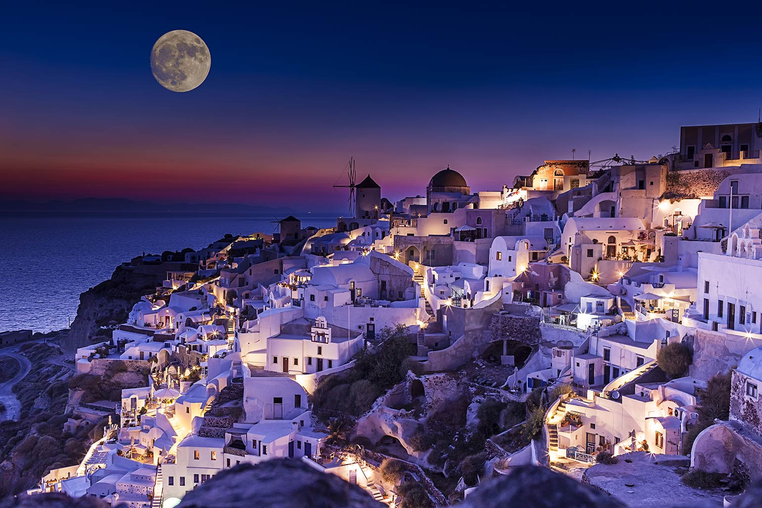 Santorini Greece Wallpaper At Night HD Wallpaper Background Images 1540x1027