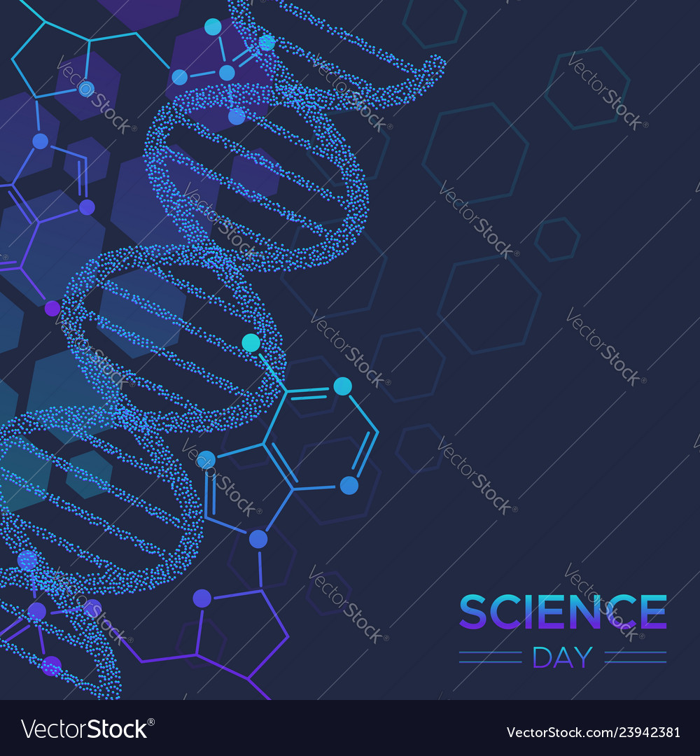 Science day biology dna strand background Vector Image 1000x1080