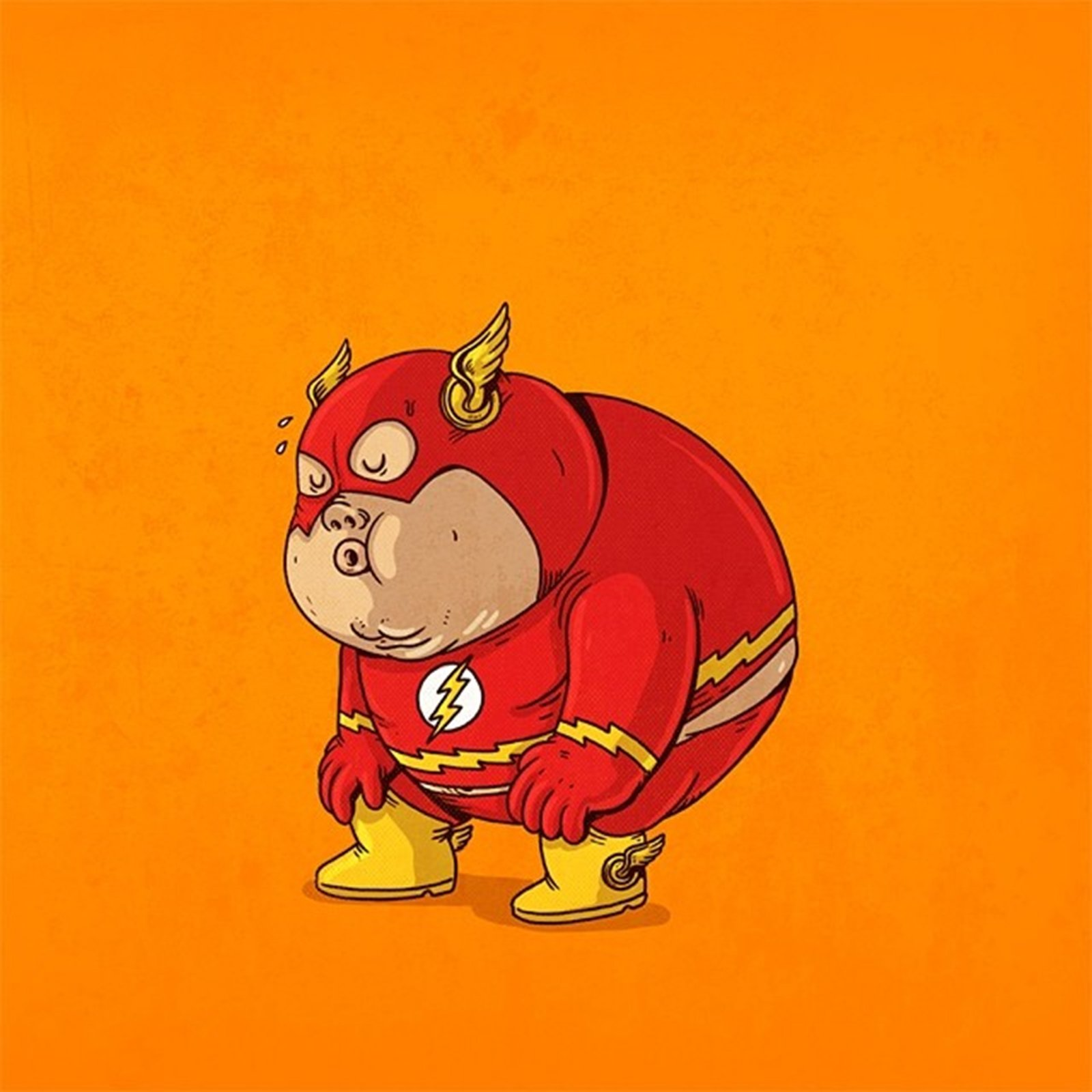 Flash fat superhero dc comics comics cartoon wallpaper 1600x1600 1600x1600