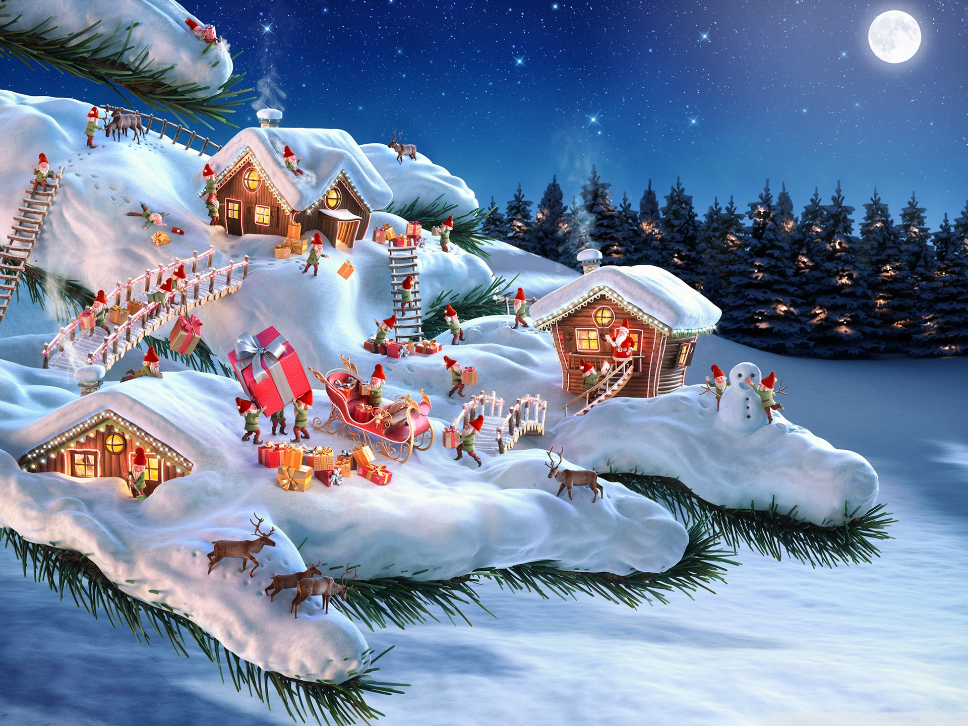 Santa and his Elves 4K HD Desktop Wallpaper for 4K Ultra HD TV 1920x1440