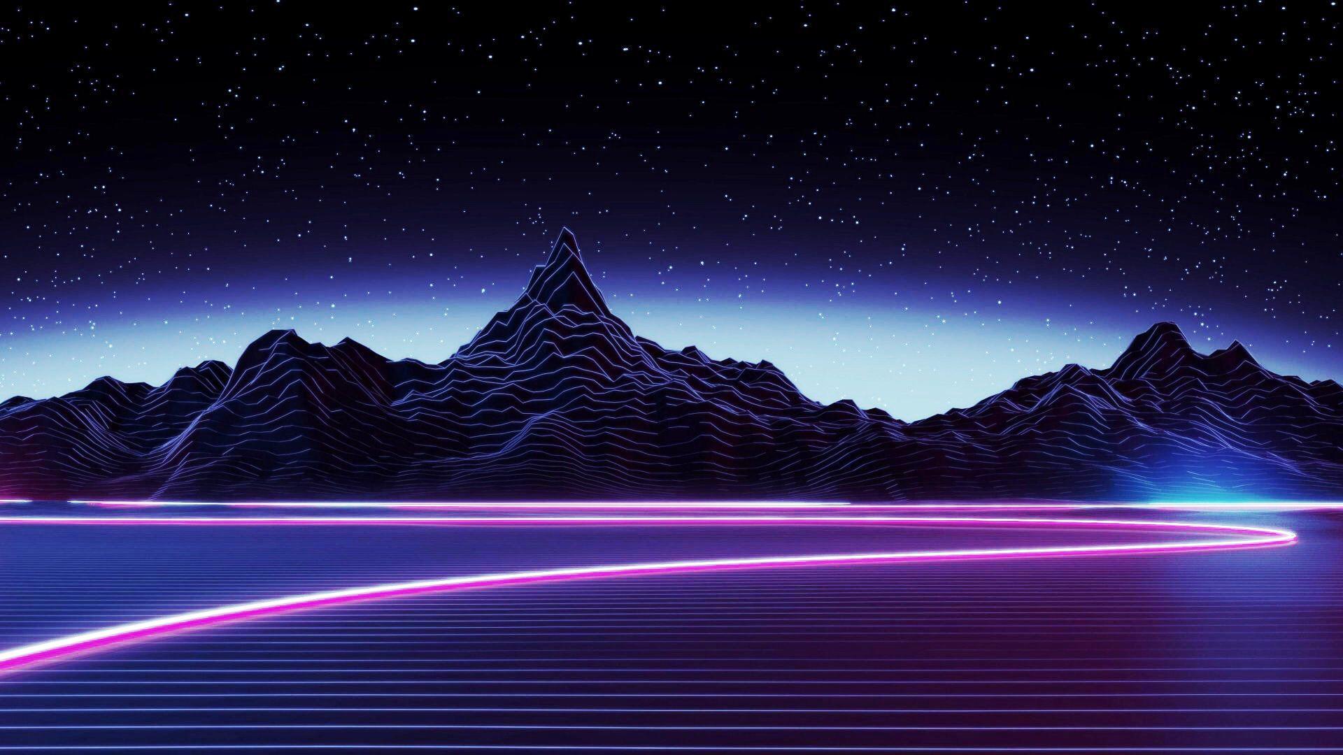Desktop Neon Mountain Wallpaper   Dark Aesthetic Wallpaper 1920x1080