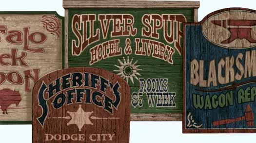 Old West Signs Die Cut Wall Paper Border 525x293