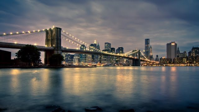 New York at night Wallpaper Walltor 640x360