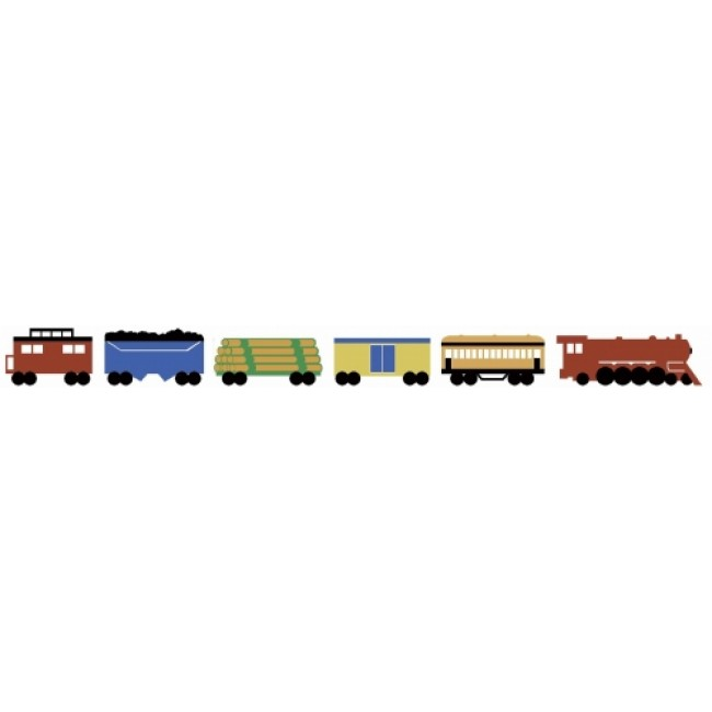 Uncut 3 Train Sets on a Peel and Stick Wallpaper Border   All 4 Walls 650x650