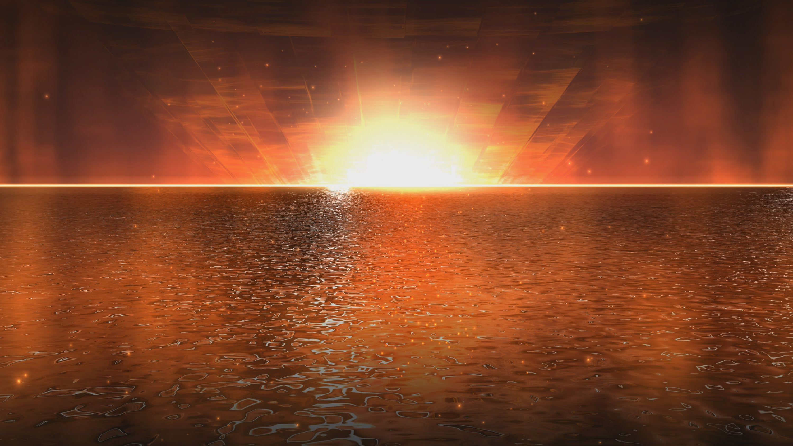 4K Golden Water Sunset Animated Wallpaper 2160p 3000x1688