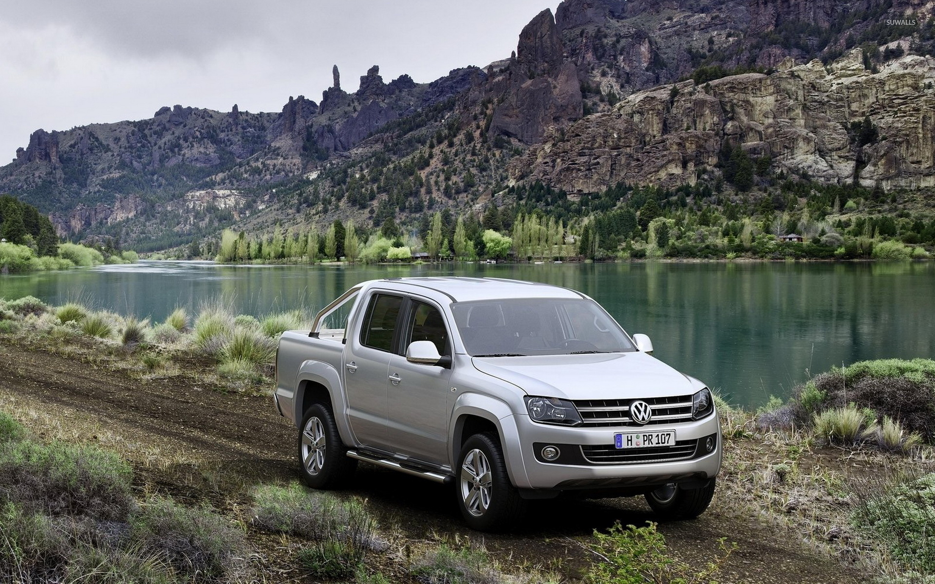 Volkswagen Amarok on a country road by the lake wallpaper   Car 1920x1200