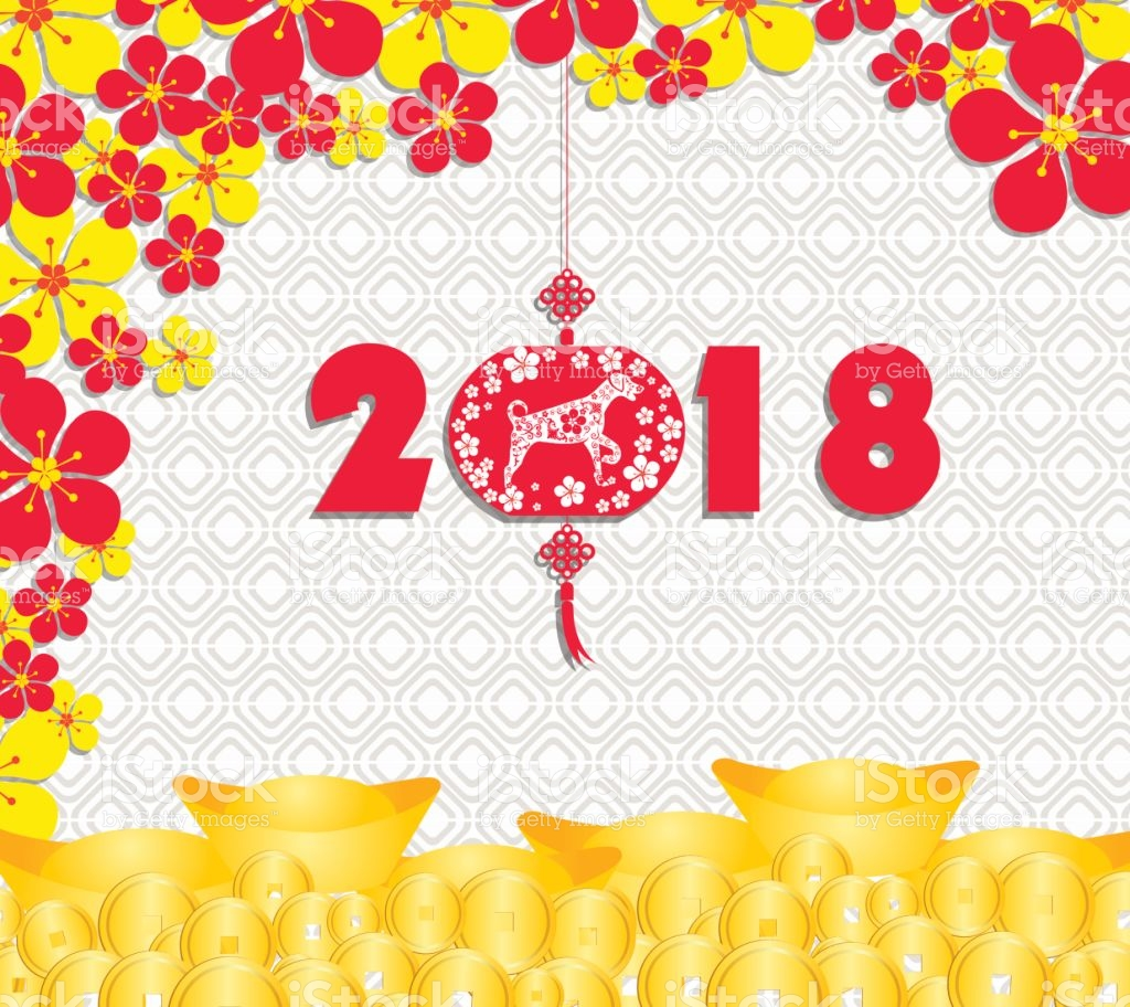 Happy Chinese New Year 2018 Card Is Gold Coins Money Year 1024x912