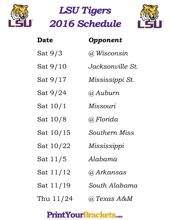 photograph about Tigers Printable Schedule known as Free of charge down load Printable LSU Tigers Soccer Agenda 2015
