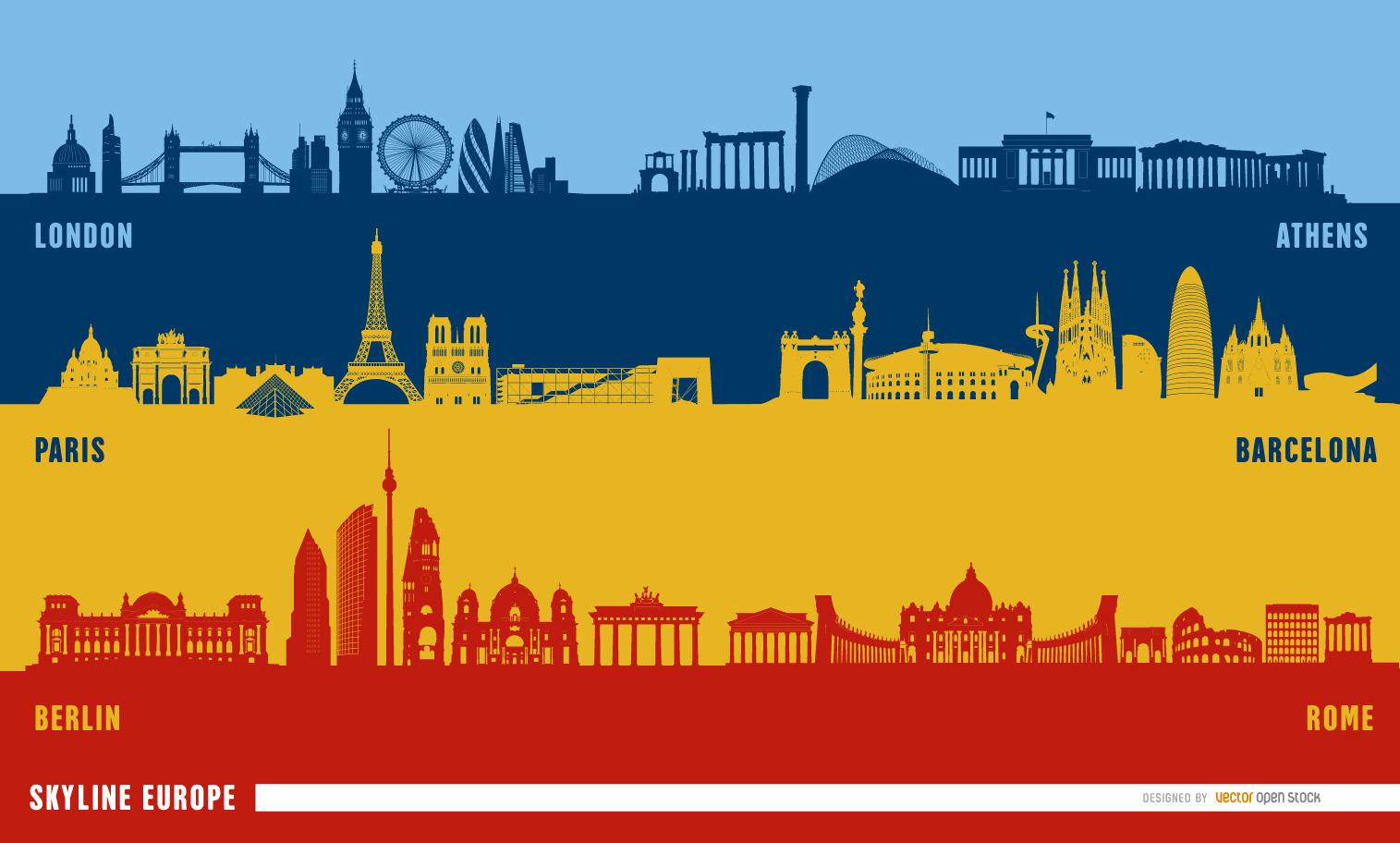 European landmarks skyline   Vector download 1515x912