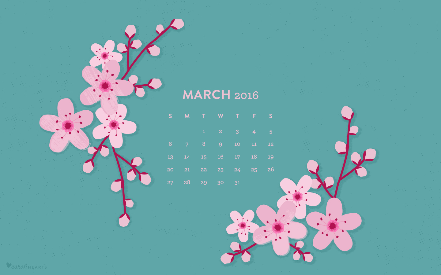 March 2016 Cherry Blossom Calendar Wallpaper   Sarah Hearts 1440x900