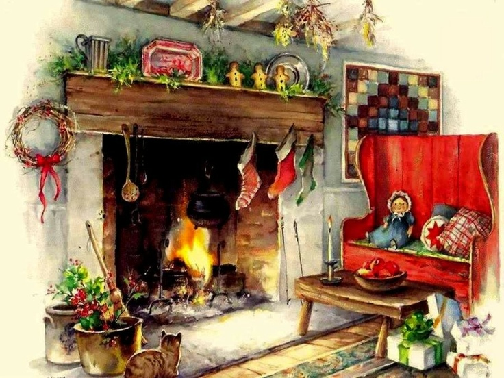 Country Cozy i want this fireplace Christmas Pinterest 736x552