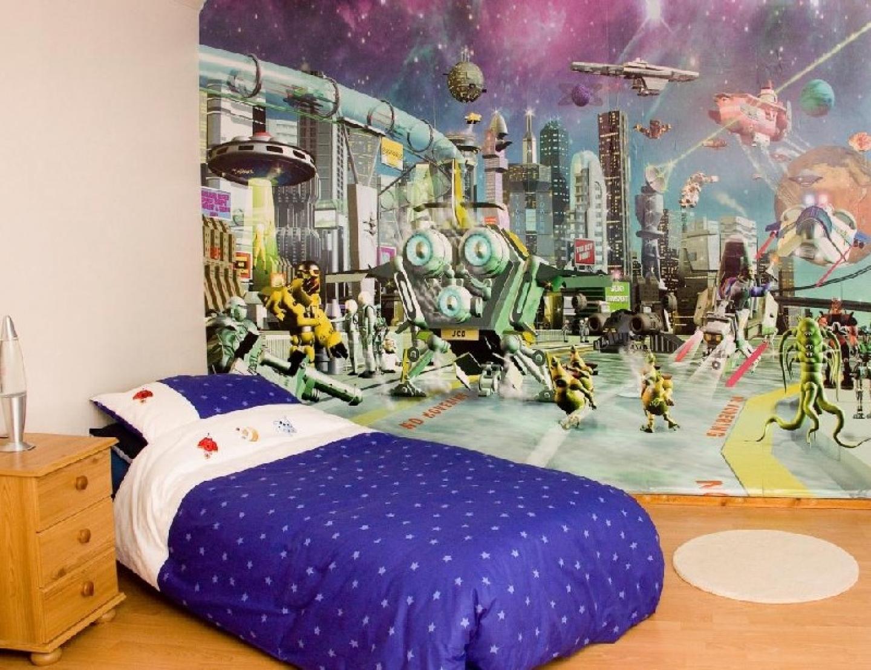 Wallpaper for boys room wallpapersafari for Boys mural wallpaper