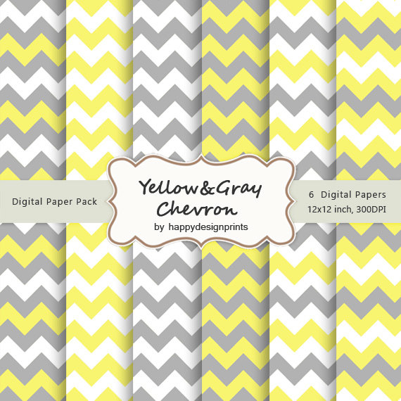 Yellow Gray Chevron Pattern Wallpaper Digital Paper Pack of 6 300 dpi 570x570