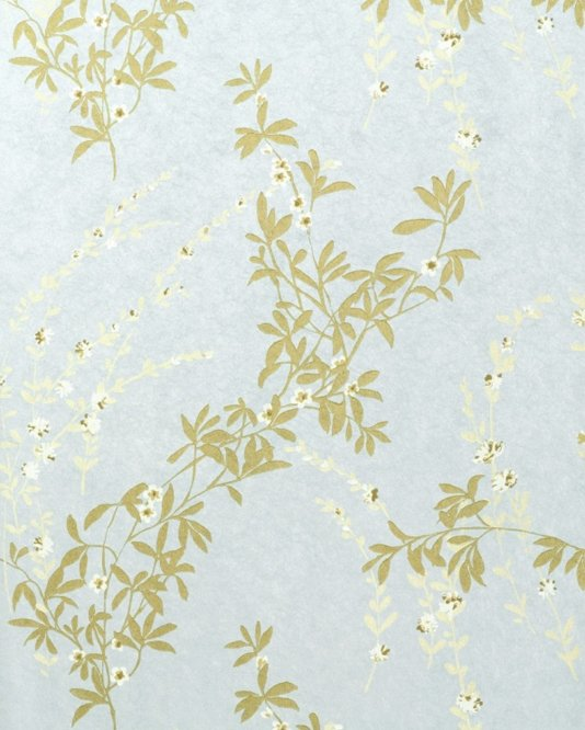 Fiona Floral Wallpaper Light Blue wallpaper with mute gold and white 534x666