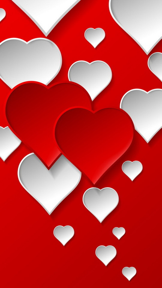 Red and White Love Hearts Wallpaper   iPhone Wallpapers 540x960
