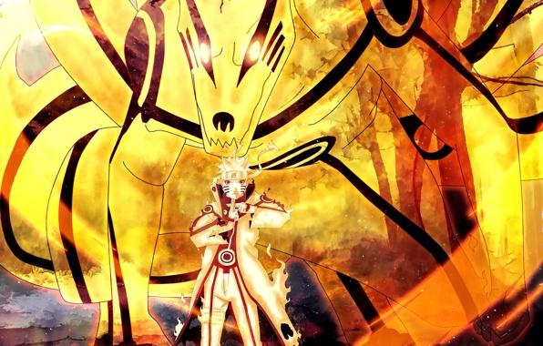 Wallpaper naruto shippuden bijuu mode naruto uzumaki anime manga 596x380